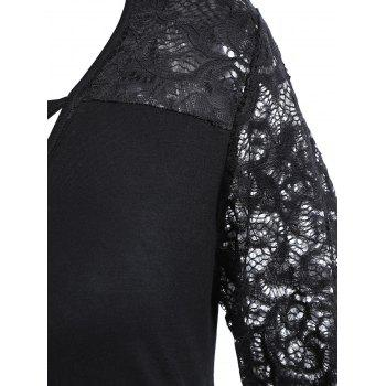 V Neck Criss Cross Lace Insert T-shirt - BLACK M