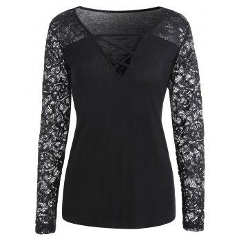 V Neck Criss Cross Lace Insert T-shirt - BLACK XL