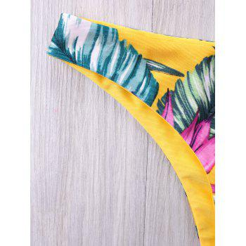 Plant Printed Allover Halter Bikini - YELLOW 2XL