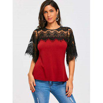 Openwork Crochet Lace Panel T-shirt - WINE RED S