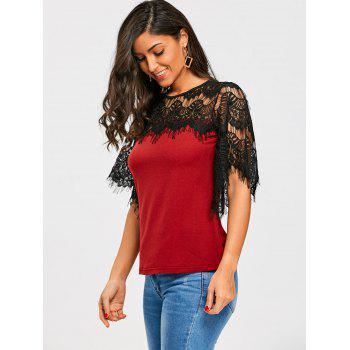 Openwork Crochet Lace Panel T-shirt - WINE RED 2XL