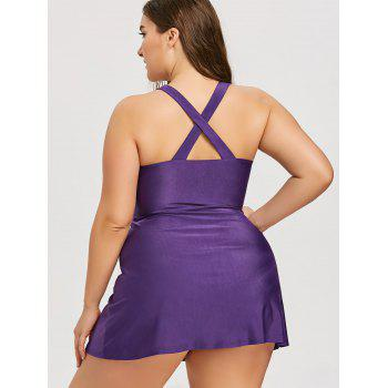 Plus Size Cross Front Color Block Tankini Set - PURPLE 4XL
