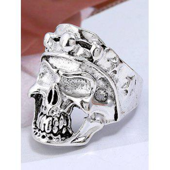 Retro Carved Skull Plated Metal Biker Ring - SILVER ONE-SIZE