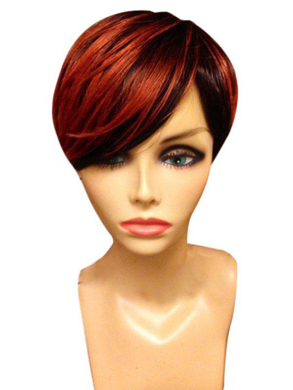 Short Oblique Fringe Straight Colormix Synthetic Wig - RED/BLACK