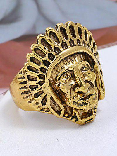 Punk Alloy Indian Chief Tribal Head Ring - GOLDEN ONE-SIZE