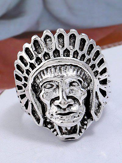 Image For Punk Alloy Indian Chief Tribal Head Ring