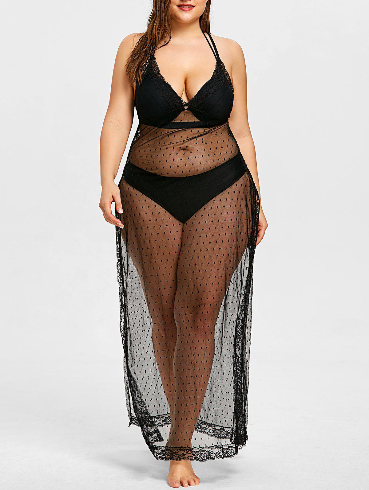 Plus Size Sheer Slit Long Cover Up - BLACK 3XL