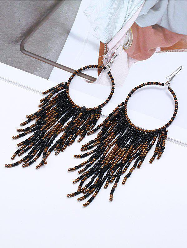 Circle Bead Purl Hook Drop Earrings - BLACK