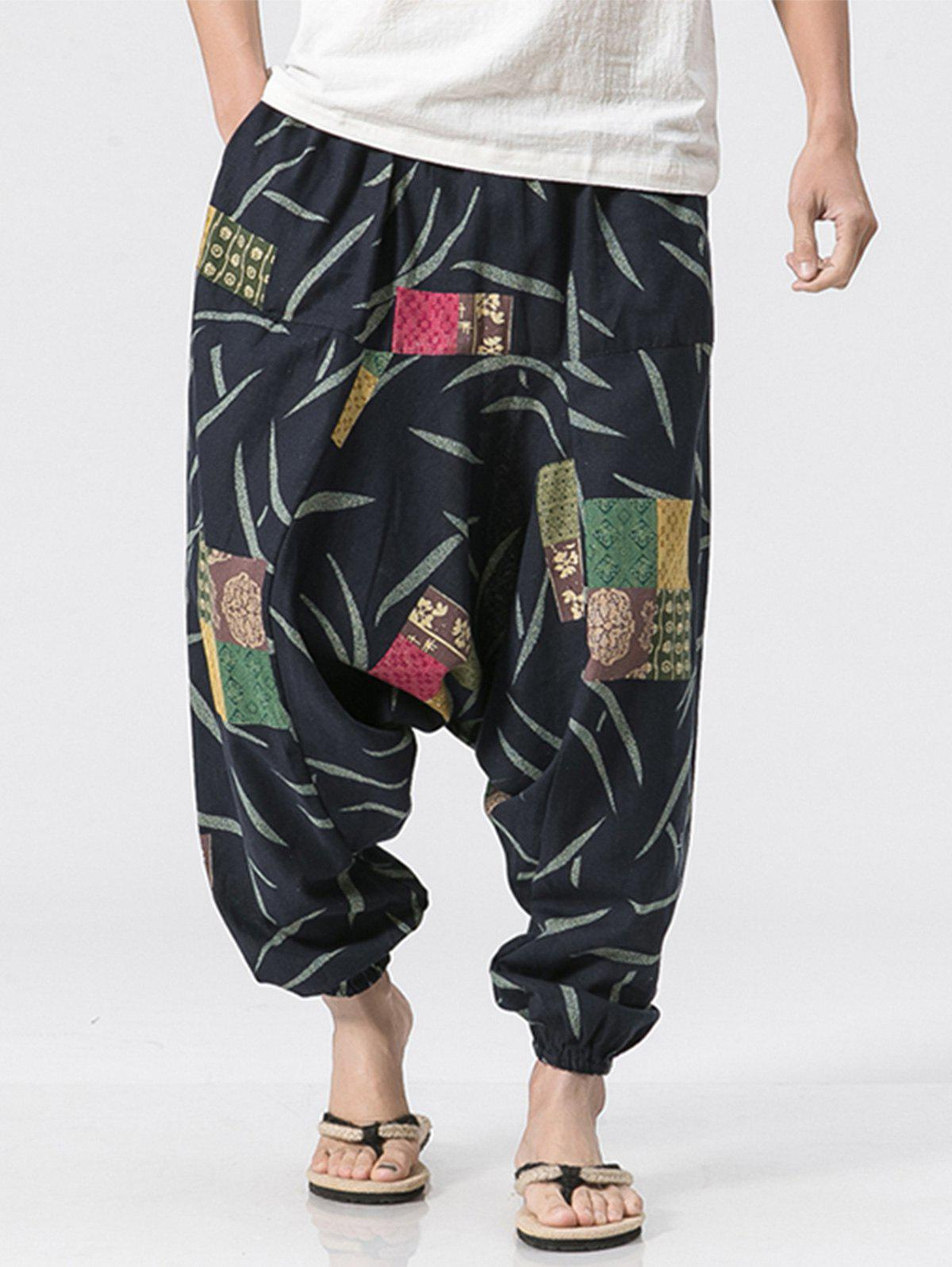 Florals Patch Pattern Jogger Pants - COLORMIX XL
