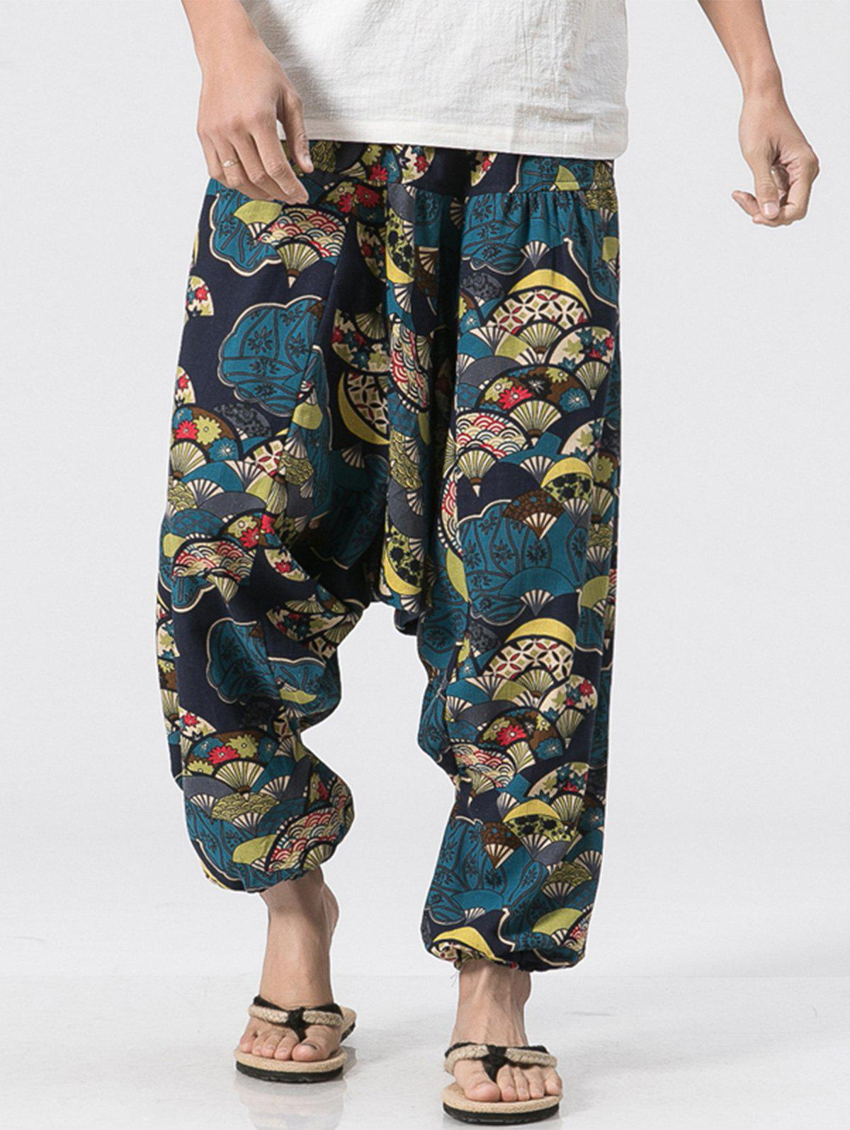 Cotton Linen Japanese Printed Jogger Pants - COLORMIX L