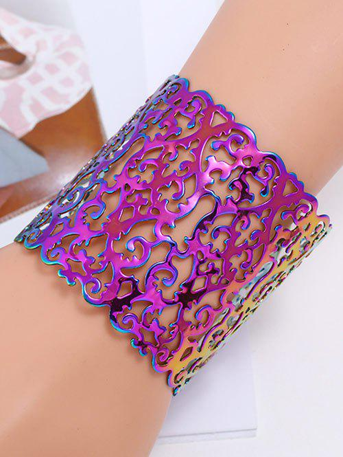 Hollow Out Metal Colorful Cuff Bracelet vintage frosted grid hollow out cuff bracelet for women