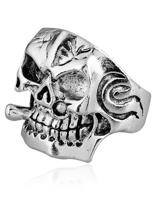 Plated Square Face Skull Metal Punk Biker Ring - SILVER ONE-SIZE