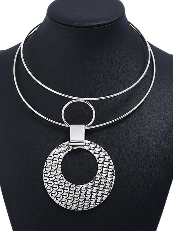 Round Metal Cuff Necklace - SILVER