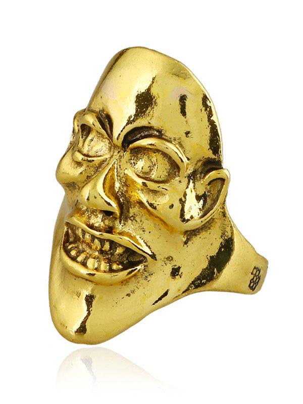 Punk Plated Evil Face Unisex Ring - GOLDEN ONE-SIZE