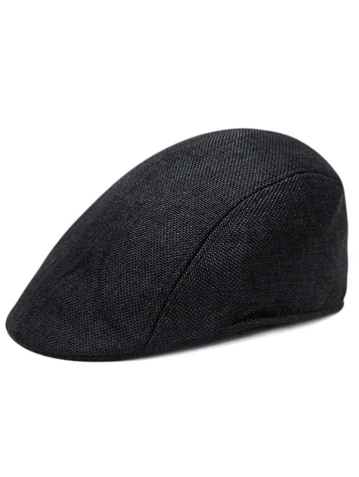 Simple Solid Color Breathable Duckbill Hat - BLACK