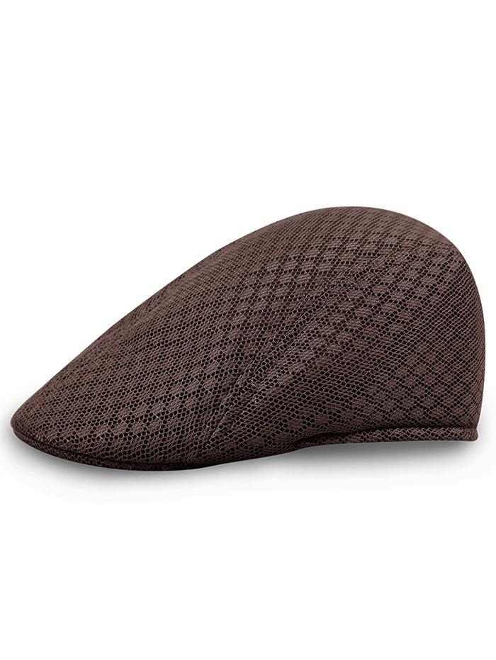 Simple Mesh Breathable Newsboy Hat - CAPPUCCINO