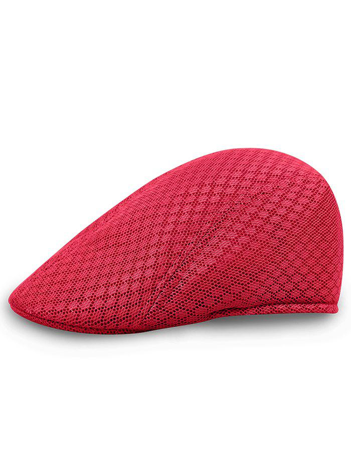 Simple Mesh Breathable Newsboy Hat - RED