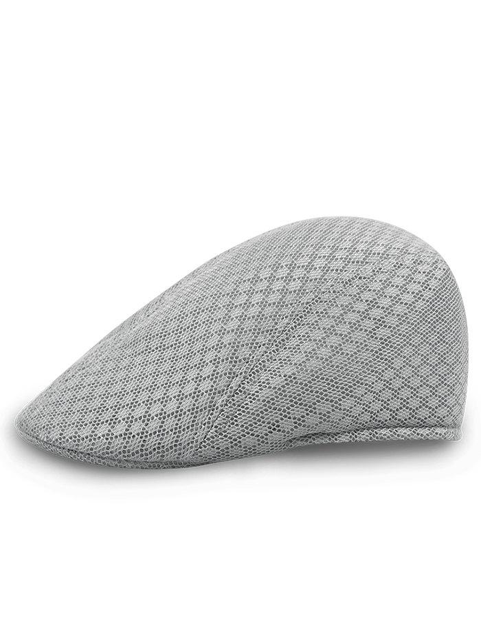 Simple Mesh Breathable Newsboy Hat - LIGHT GREY