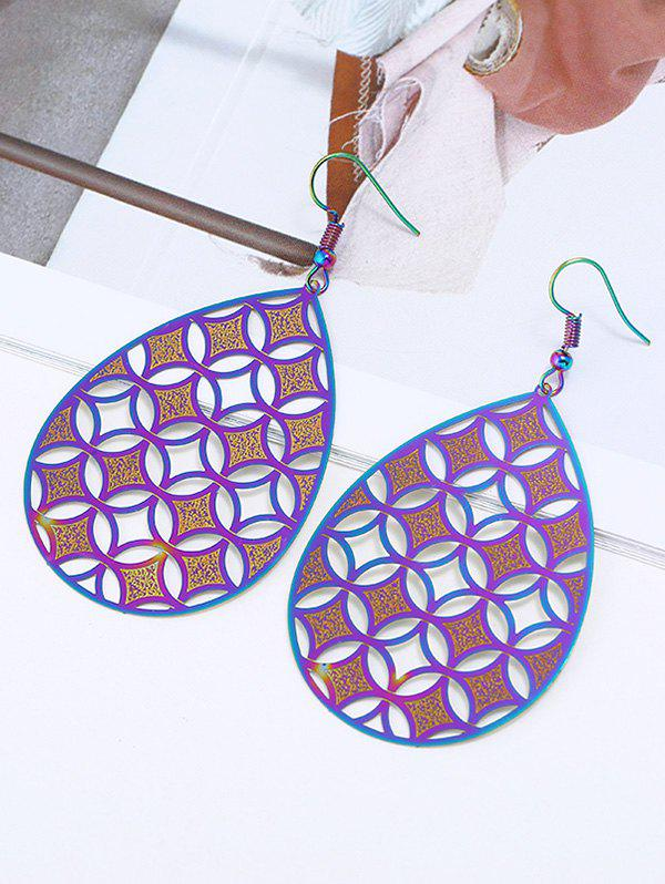 Water Drop Openwork Stainless Steel Hook Earrings - COLORMIX