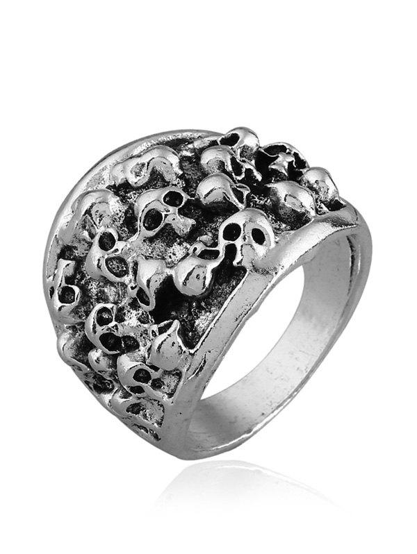 Bague Design Vintage crânes en relief sculpté - SILVER ONE-SIZE