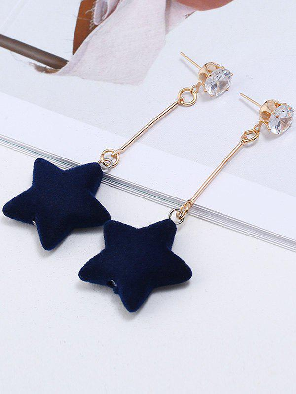 Five Star Dangle Zircon Stud Earrings - BLUE