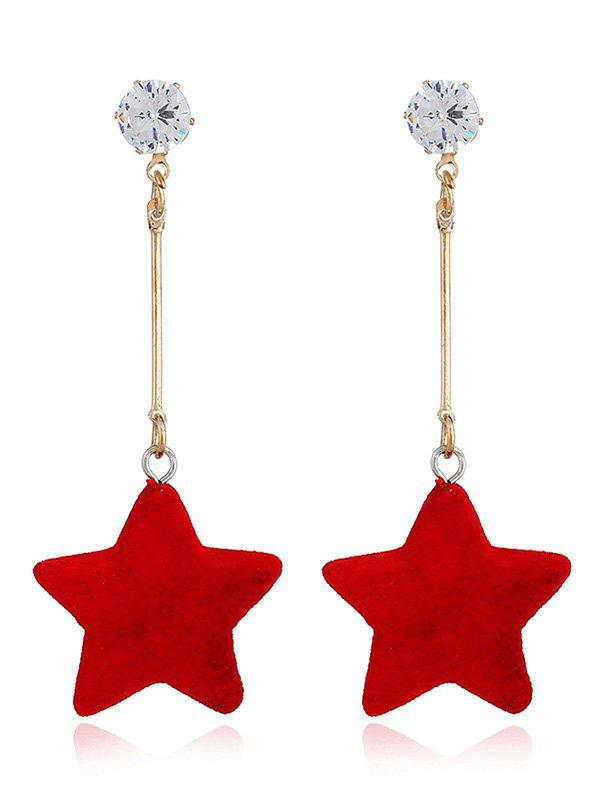 Five Star Dangle Zircon Stud Earrings - RED
