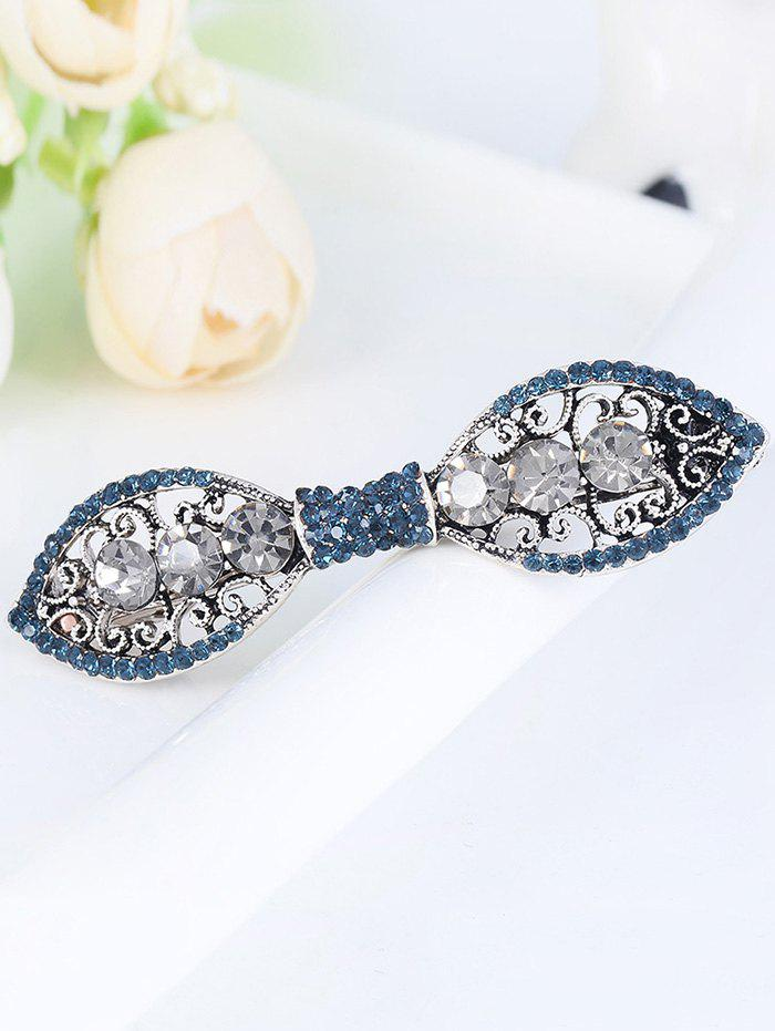 Rhinestones Simple Bowknot Carve Hair Clip - GRAY