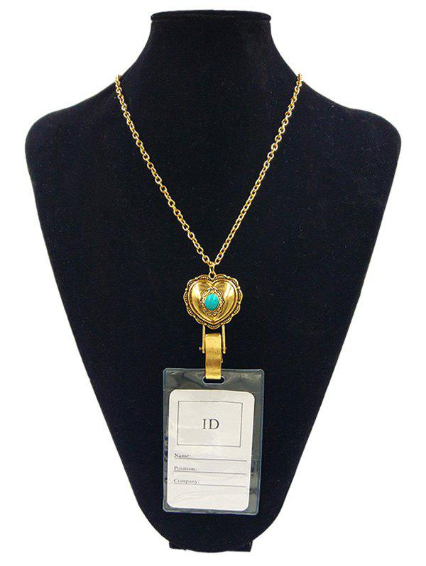 Alloy Vintage Heart Shape ID Card Pendant Necklace - GOLDEN