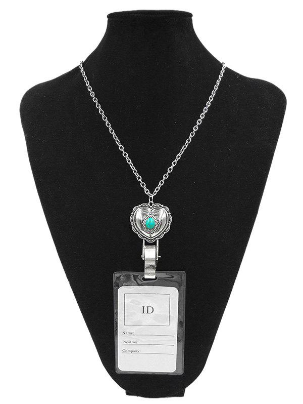 Alloy Vintage Heart Shape ID Card Pendant Necklace - SILVER