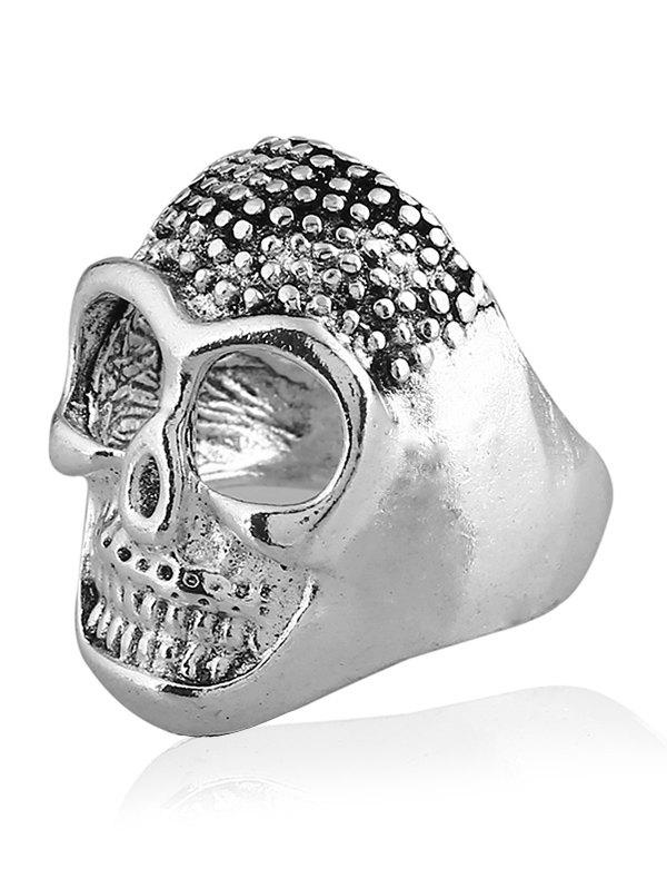 Retro Plated Skull Carved Metal Biker Ring - SILVER ONE-SIZE