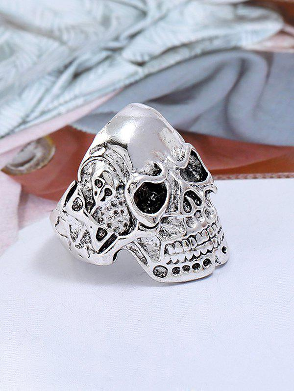 Punk Biker Plated Skull Metal Ring - SILVER ONE-SIZE