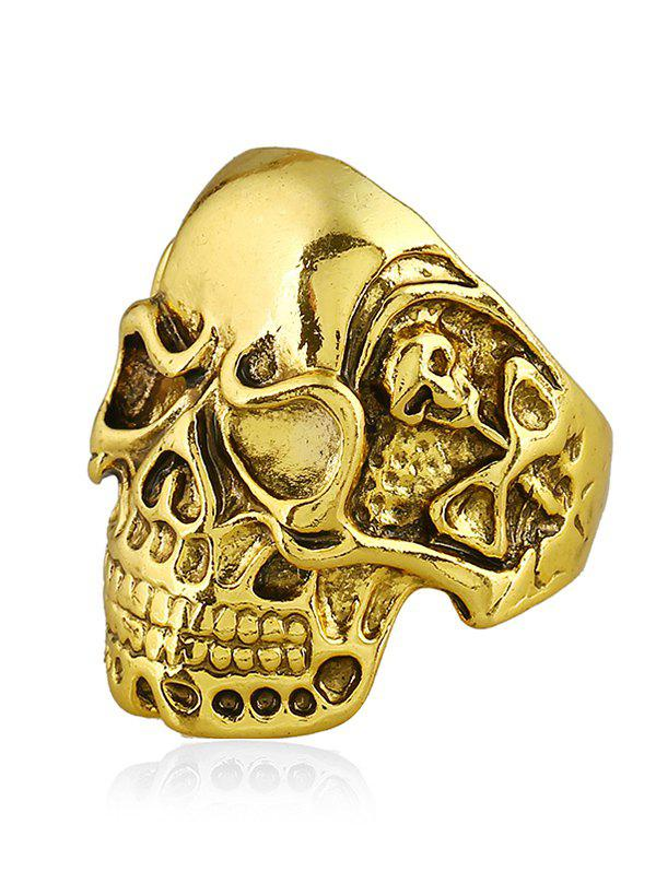 Punk Biker Plated Skull Metal Ring - GOLDEN ONE-SIZE