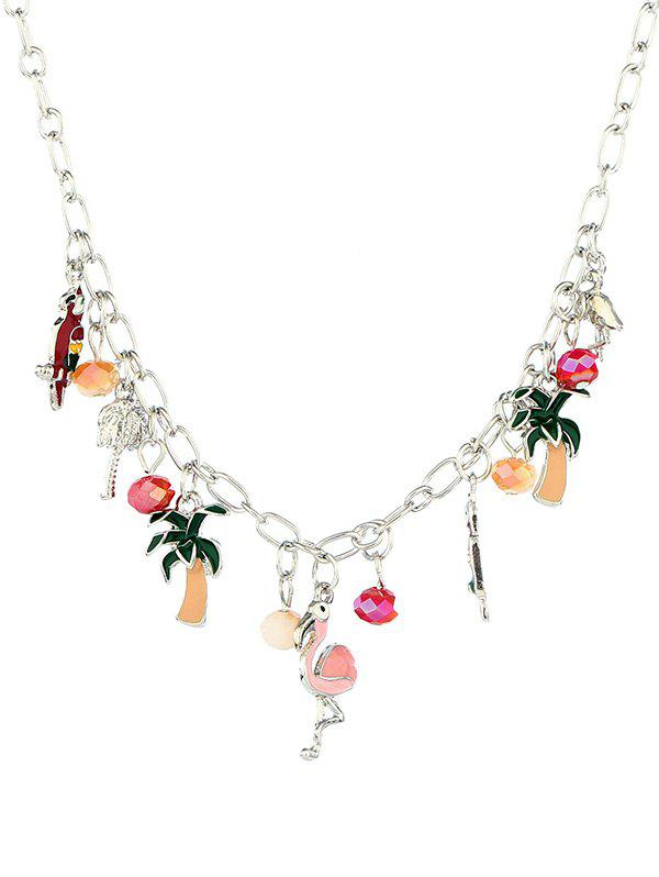 Alloy Coconut Tree Beaded Flamingo Pendant Necklace - SILVER