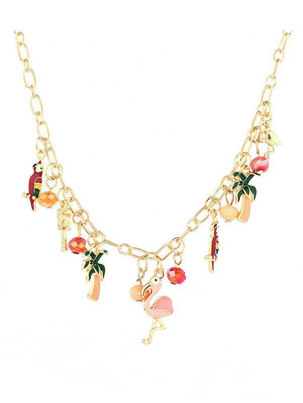 Alloy Coconut Tree Beaded Flamingo Pendant Necklace - GOLDEN
