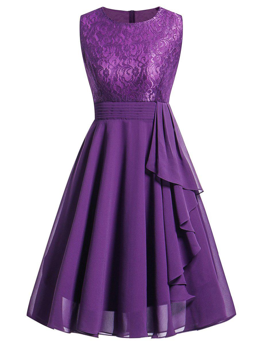 Lace Trim Flare Party Dress - PURPLE S