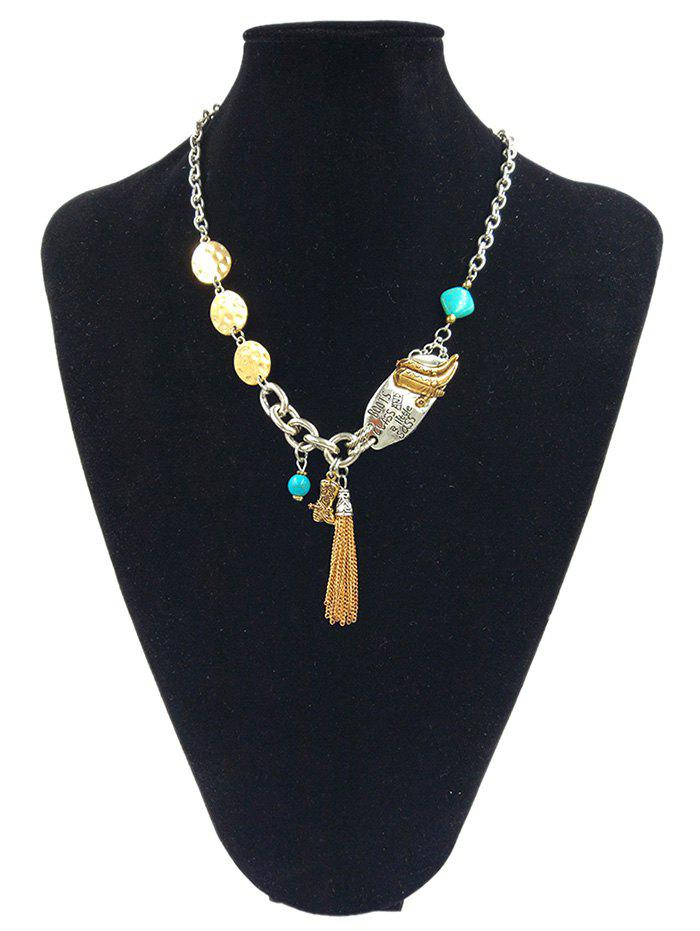 Alloy Geometric Beaded Tassel Linked Chain Pendant Necklace - SILVER