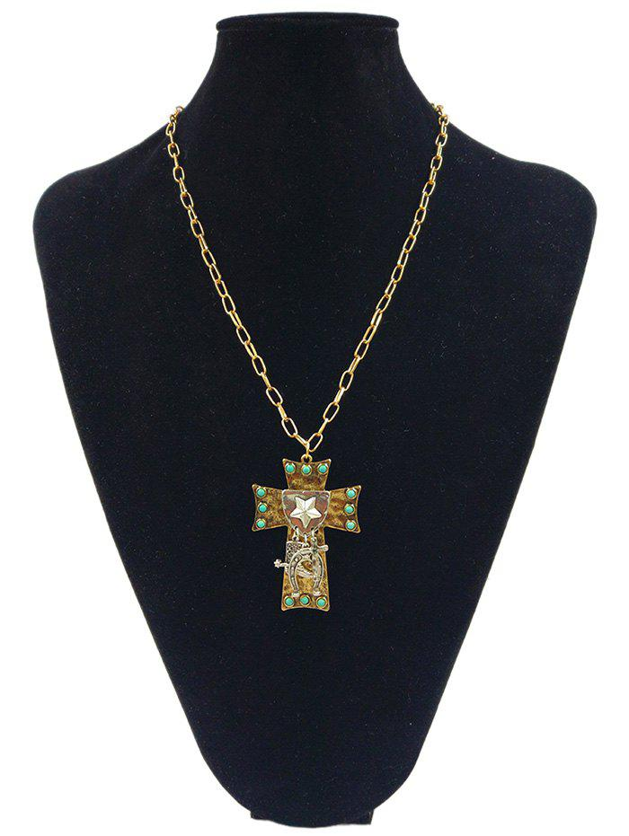 Star Carved Cross Faux Turquoise Alloy Pendant Necklace - GOLDEN