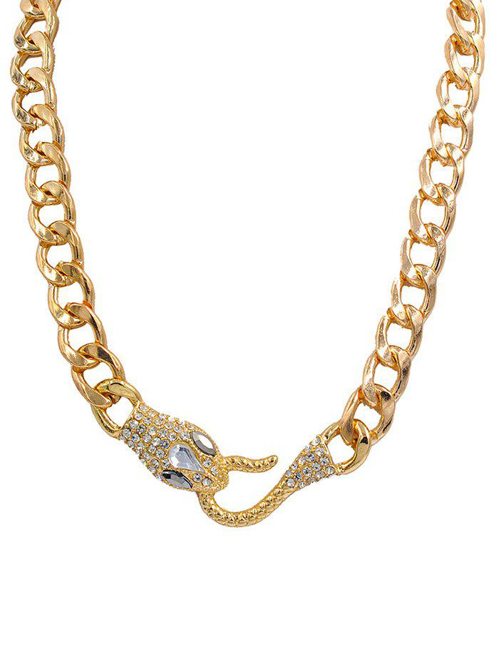 Chunky Snake Head Link Chain Alloy Pendant Necklace - GOLDEN