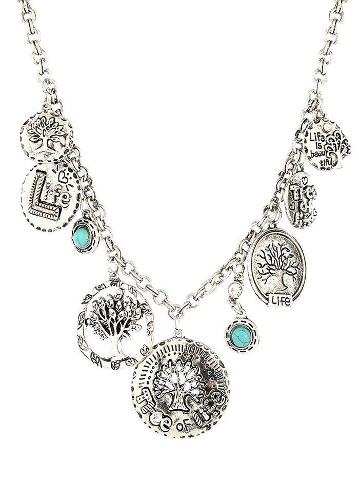 Alloy Round Coins Carved Tree Pendant Necklace - SILVER