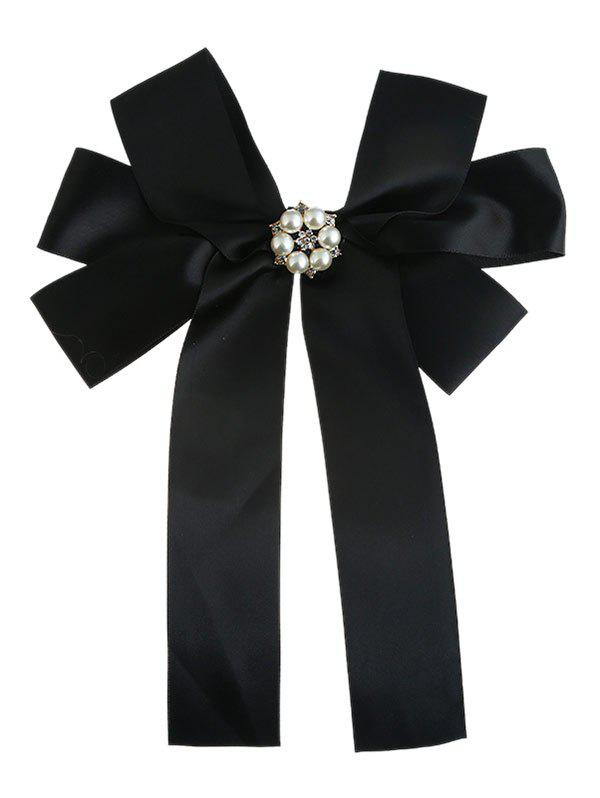 Delicate Layered Bowknot Artificial Pearl Decorate Corsage Brooch - BLACK