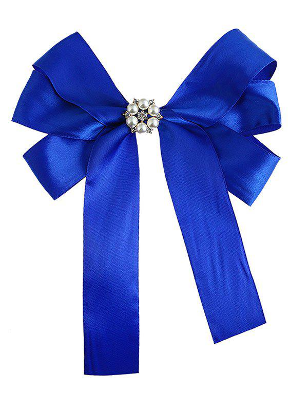 Delicate Layered Bowknot Artificial Pearl Decorate Corsage Brooch - BLUE