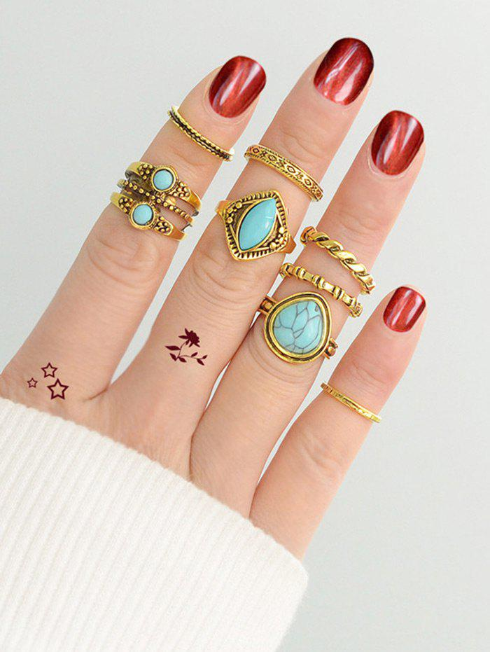 Faux Turquoise Circle Finger Ring Set - GOLDEN ONE-SIZE