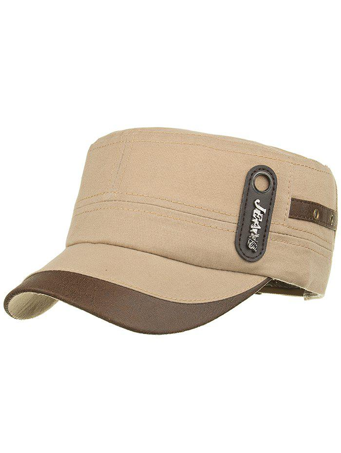 Unique JEANS Label Adjustable Army Hat - CANDY BEIGE