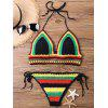 Knit Color Block Halter Bikini Set - COLORMIX ONE SIZE