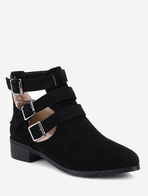 Hollow Out Ankle Buckle Strap Boots - BLACK 38