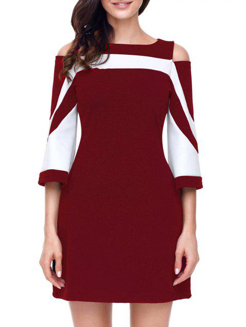Two Tone Open Shoulder A-line Dress - WINE RED XL