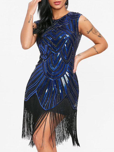 Sequined Fringe Midi Bodycon Dress - CERULEAN M