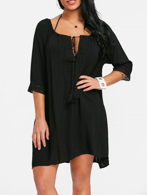 Crochet Trimmed Tassel Cover Up Dress - BLACK ONE SIZE