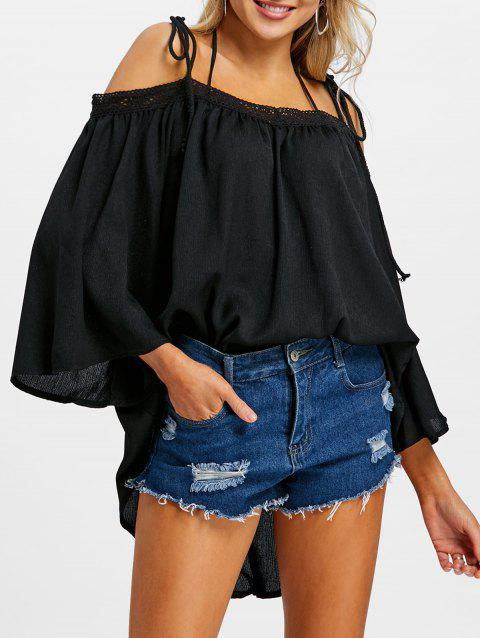 Open Shoulder Flare Sleeve Cover Up Top - BLACK XL