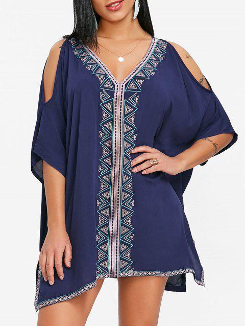 Embroidered Cold Shoulder Shift Dress - BLUE ONE SIZE